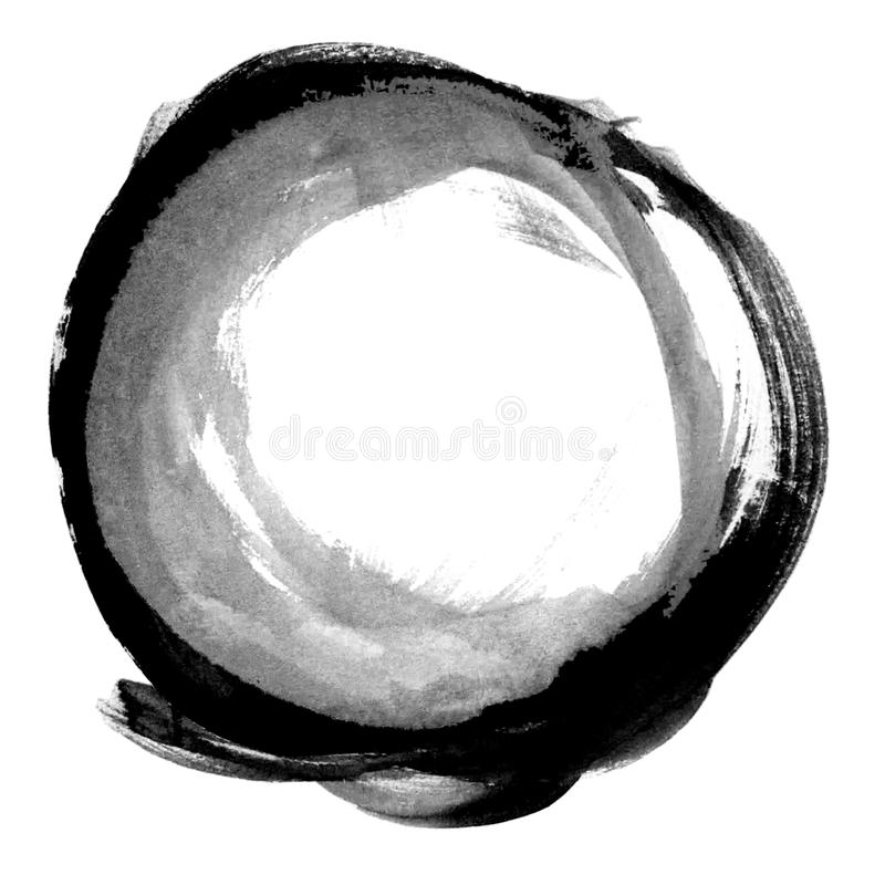 Black and white zen circle, hand drawn minimalistic illustration in Chinese style stock illustration