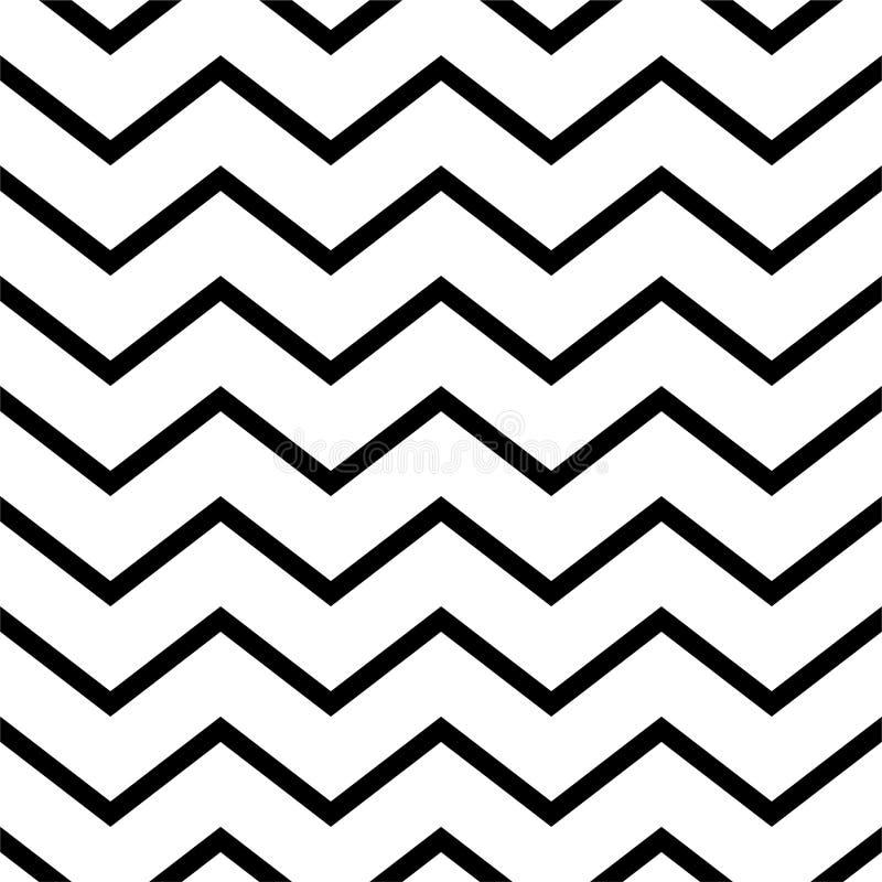 Black and white zigzag chevron pattern, seamless zig zag line texture abstract geometry background trendy minimalist decor. Paper, regular, geometric, graphic stock illustration