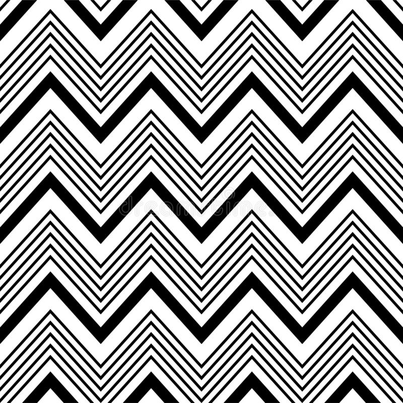 Black and white zigzag chevron pattern, seamless zig zag line texture abstract geometry background trendy minimalist decor. Paper, regular, geometric, graphic royalty free illustration