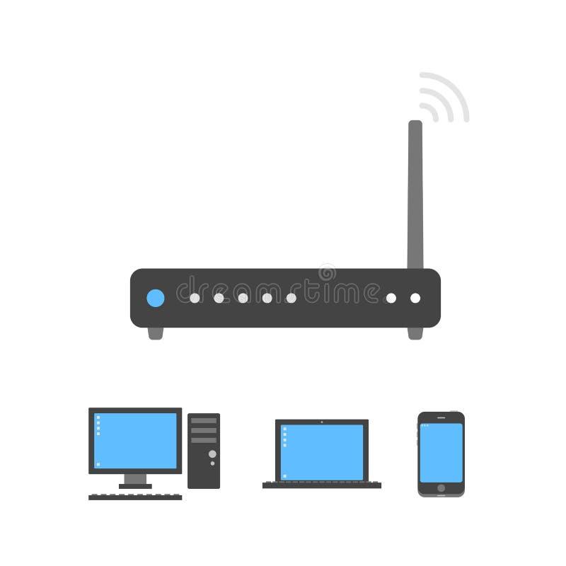 Black wi-fi router icon royalty free illustration