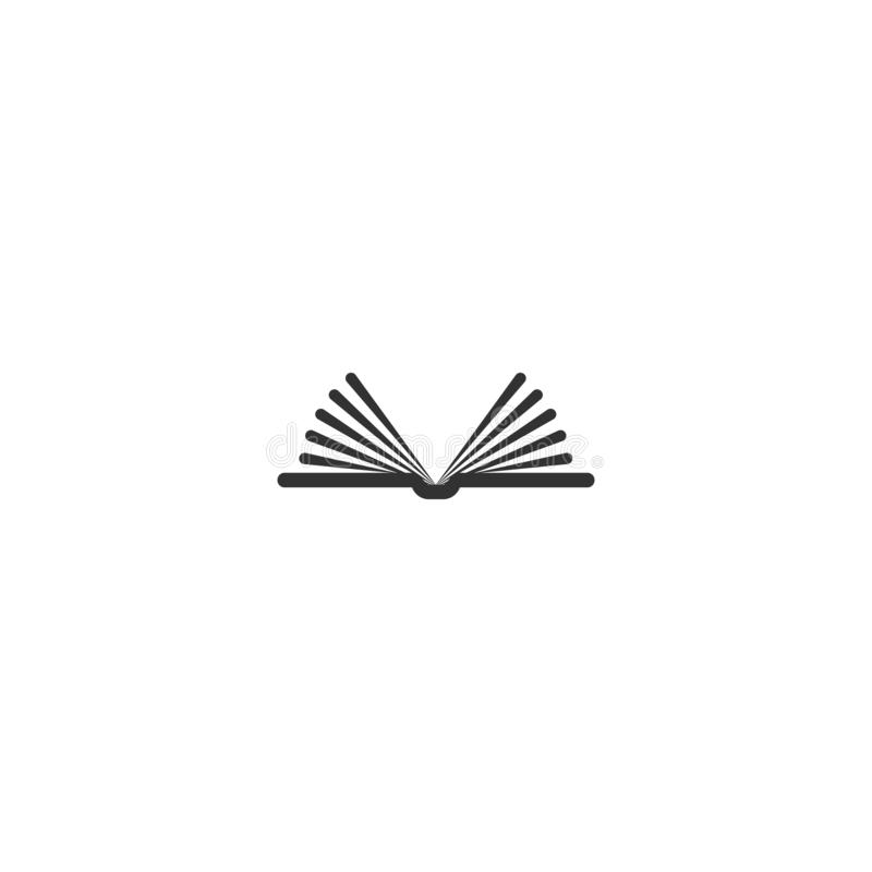 Black widely opened book with pages like wings. Isolated on white. Flat line reading icon vector illustration
