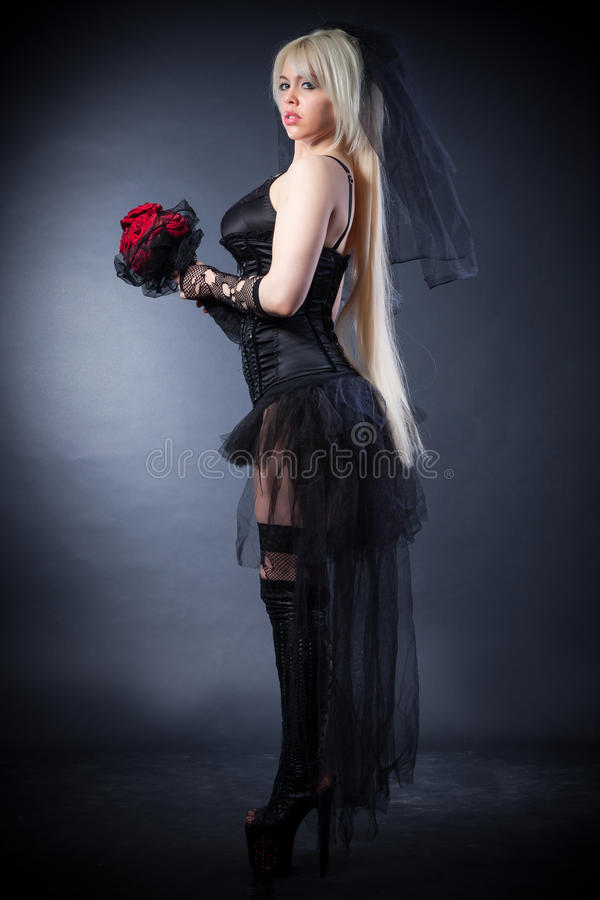 Download Black Widow In Grief  With Flowers  With A Veil Stock Image - Image: 38344035