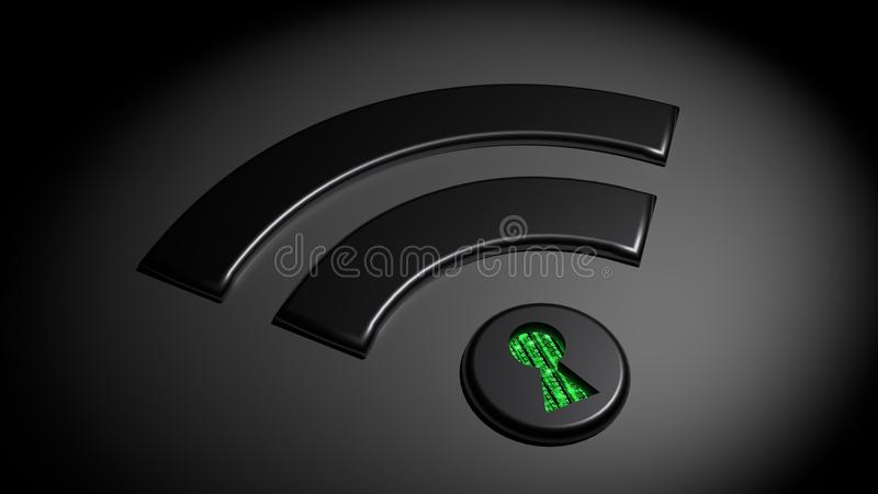 Compromised WPA 2 wifi network cybersecurity concept. Black wifi symbol in the dark where the dot has a keyhole revealing green matrix binary streams compromised royalty free illustration