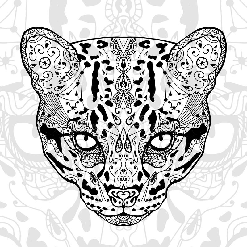The black and wild cat white print with ethnic zentangle patterns. Coloring book for adults antistress. Art therapy. The black and white wild cat print with royalty free illustration