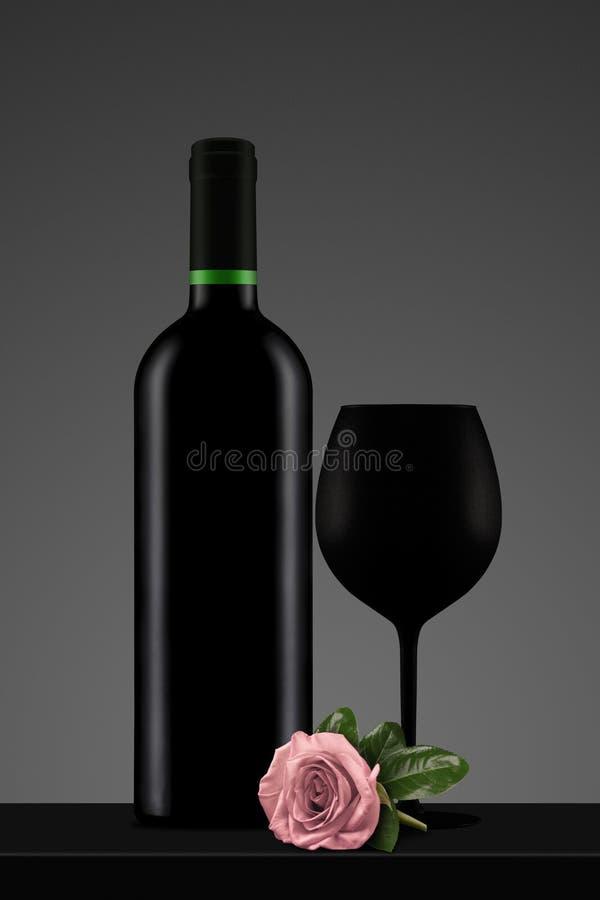 Download Black Wine Bottle With Glass And Pink Rose Stock Illustration - Illustration: 90284471