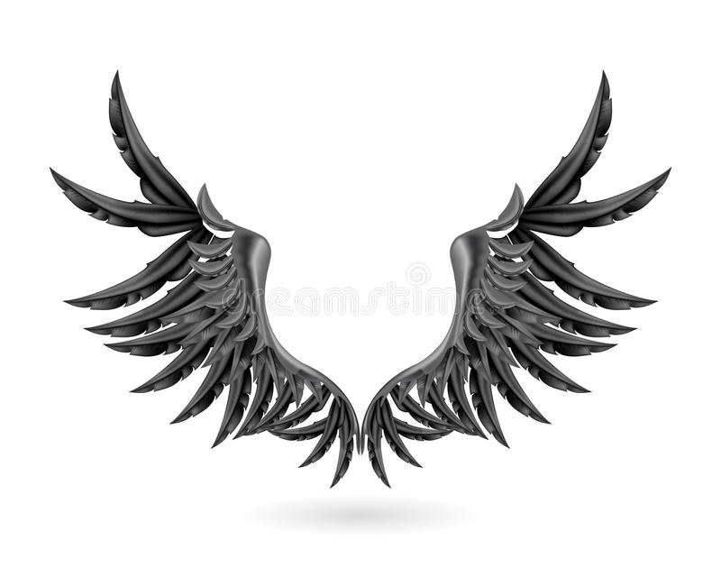 Black wings. Computer illustration, isolated on the white