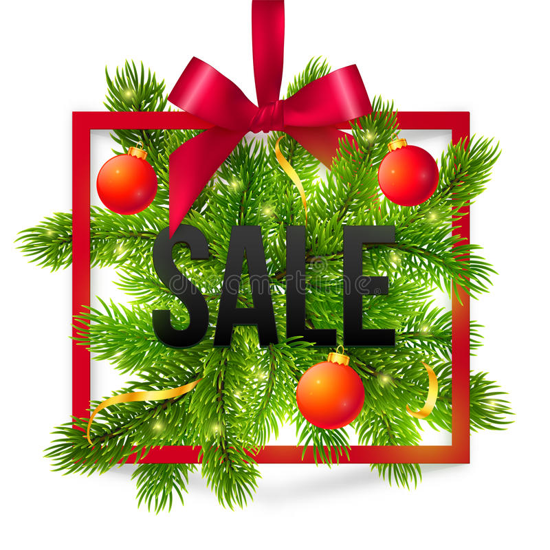 black winter sale sign with red ribbon  green fir stock