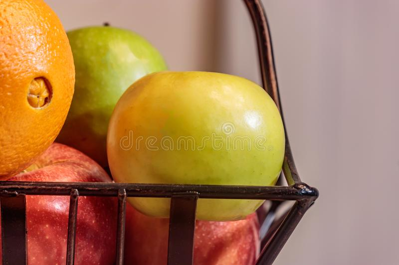 Wire basket with fruit stock photo