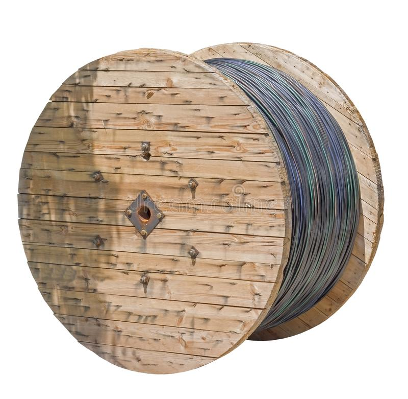 Black wire electric cable with wooden coil of electric cable royalty free stock photos