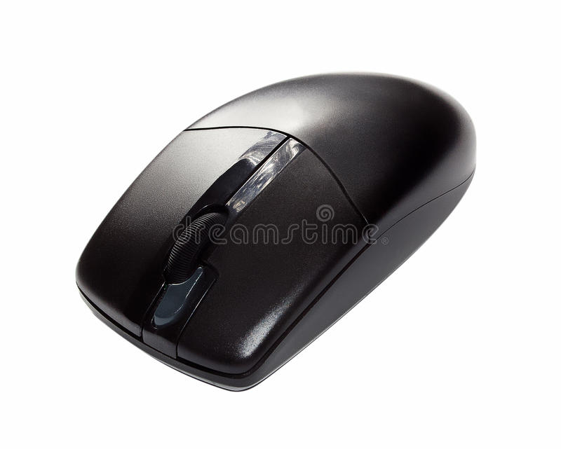 Black Wireless Computer Mouse Isolated On White Stock Photo