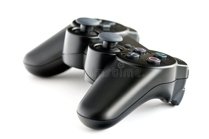 Black wireless console game controller stock photography