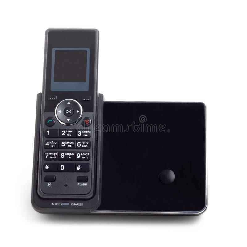 Black wireless cordless phone on white royalty free stock photos