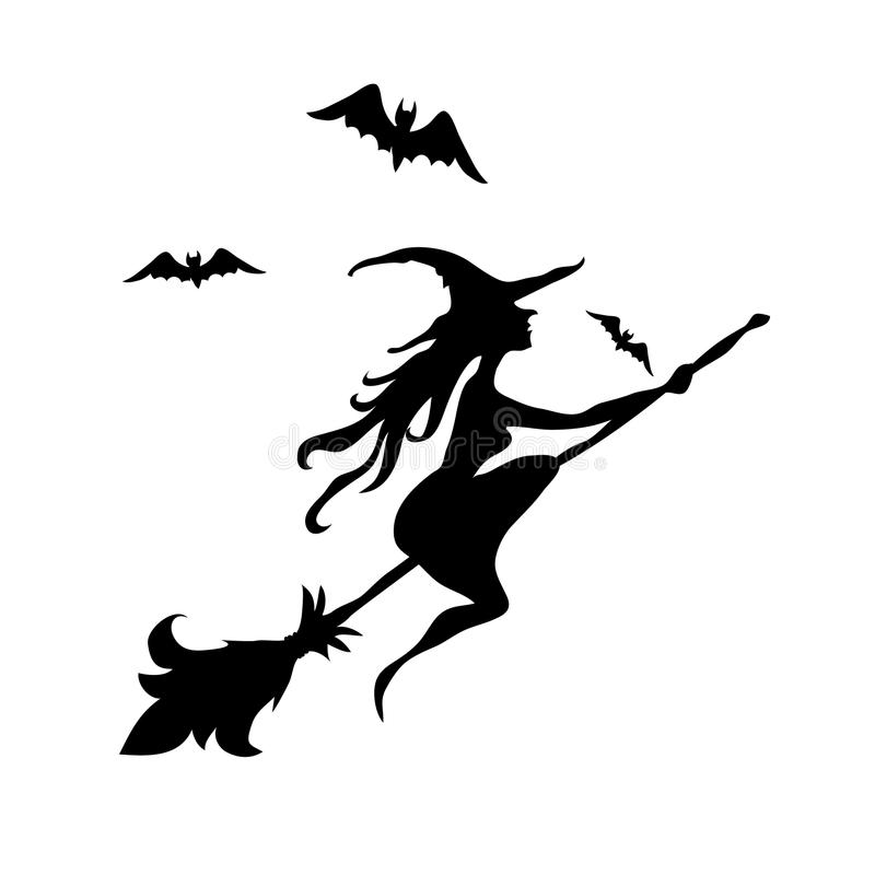 Black witch and two bats silhouette stock illustration
