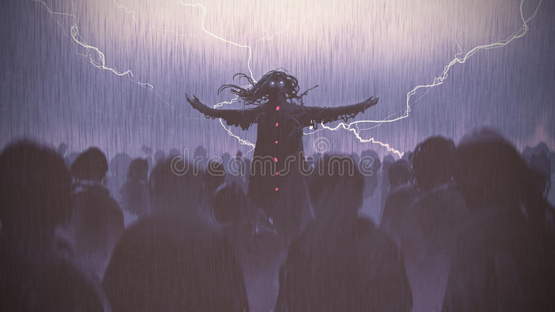 Black wizard raising arms standing out from the crowd. In the rain, digital art style, illustration painting royalty free illustration
