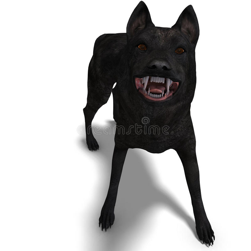Black Wolf. 3D rendering with clipping path and