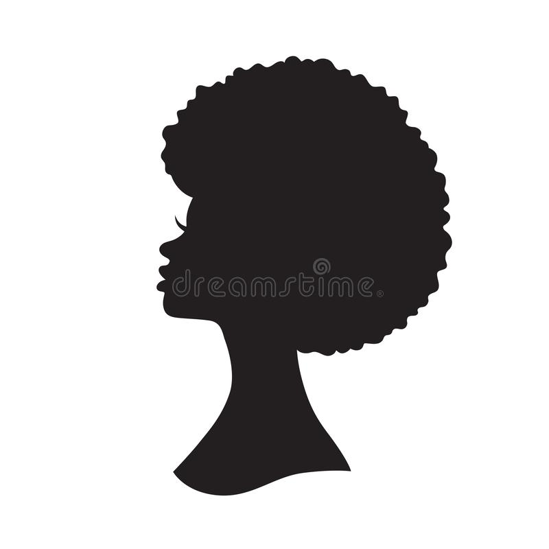 Black Woman with Afro Hair Silhouette Vector Illustration royalty free illustration