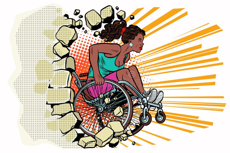 Black woman athlete in a wheelchair punches the wall royalty free illustration