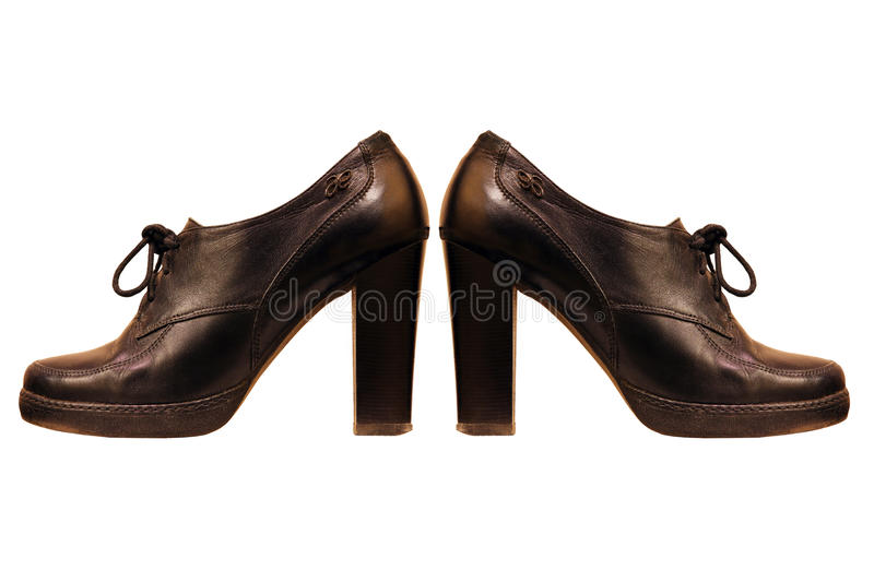 Black woman boots isolated on white background. royalty free stock photo