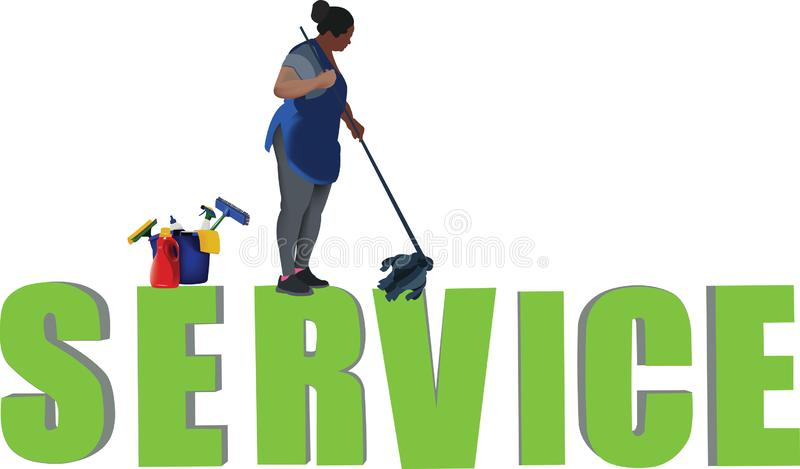 Black woman in charge of cleaning condominiums.  stock illustration