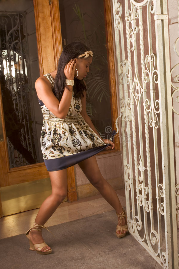 Download Black Woman Dress Stuck In Wrought Fence Stock Image - Image: 5956097