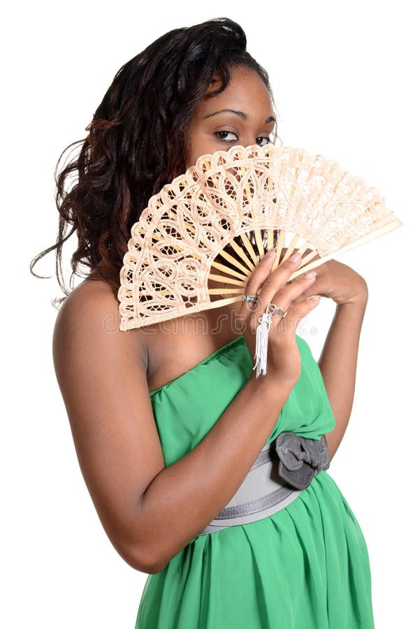 Black woman with fan. Isolated Black woman with fan royalty free stock image