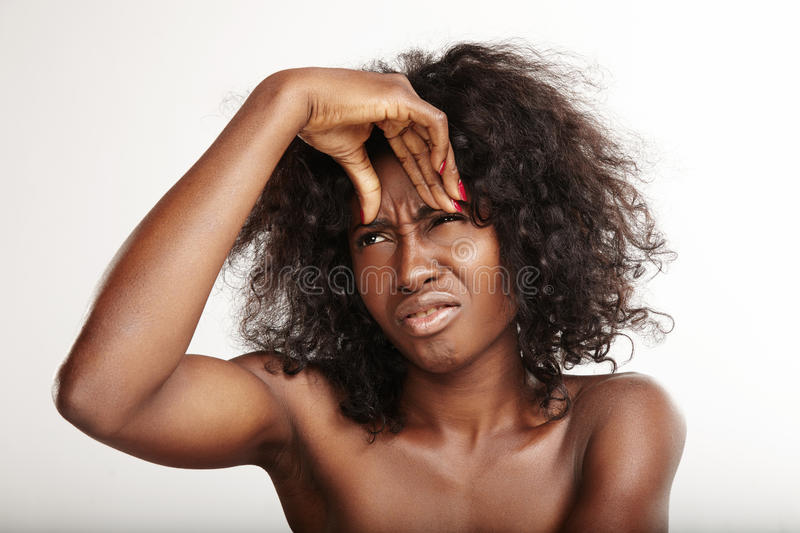 Black woman with a firs wrinkles. Skin problems stock images