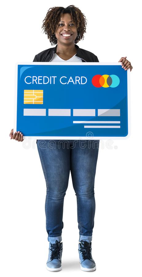 Black woman holding credit card isolated royalty free stock photography