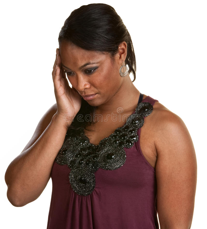Free Black Woman Holding Head Stock Image - 26130441