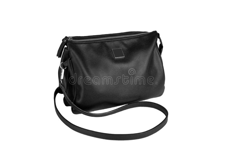 Black woman leather handbag isolated on white background royalty free stock photos