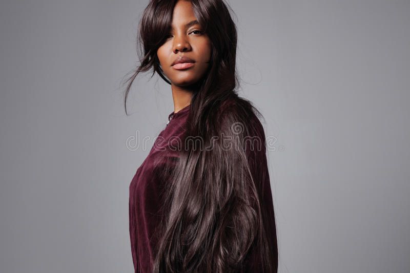 Black Woman With A Long Dark Straight Hair Stock Image
