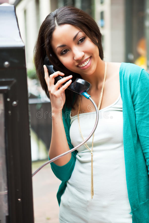 Black woman on the phone royalty free stock images