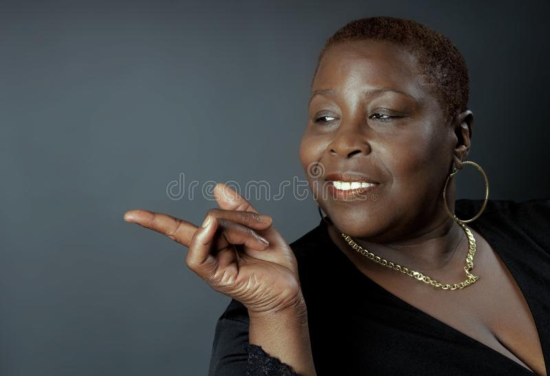 Black Woman Pointing royalty free stock photo