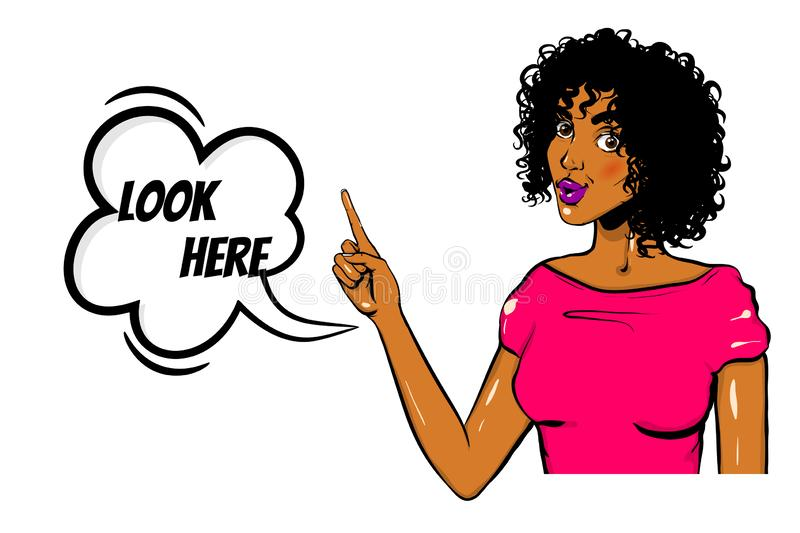 Black woman pop art Wow face show look here royalty free illustration