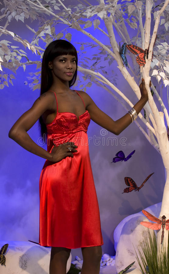 Download Black Woman In Red editorial image. Image of butterfly - 24170335