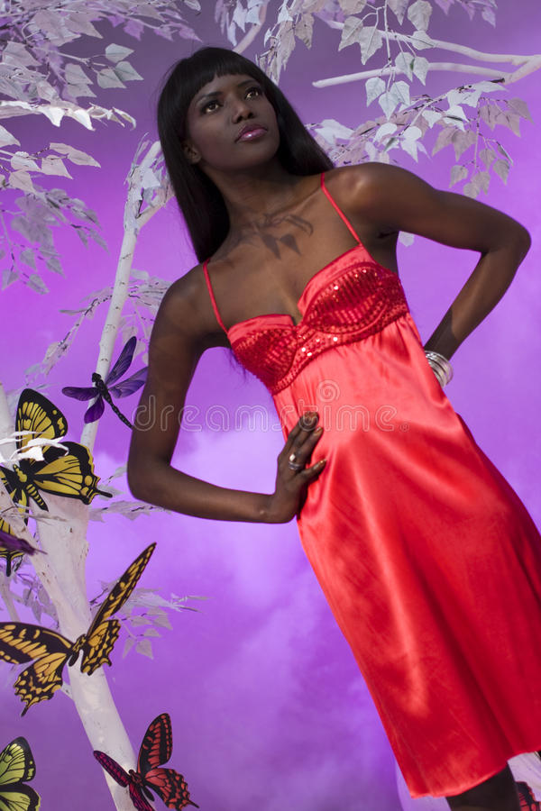 Download Black Woman In Red editorial photo. Image of dress, communication - 24187436