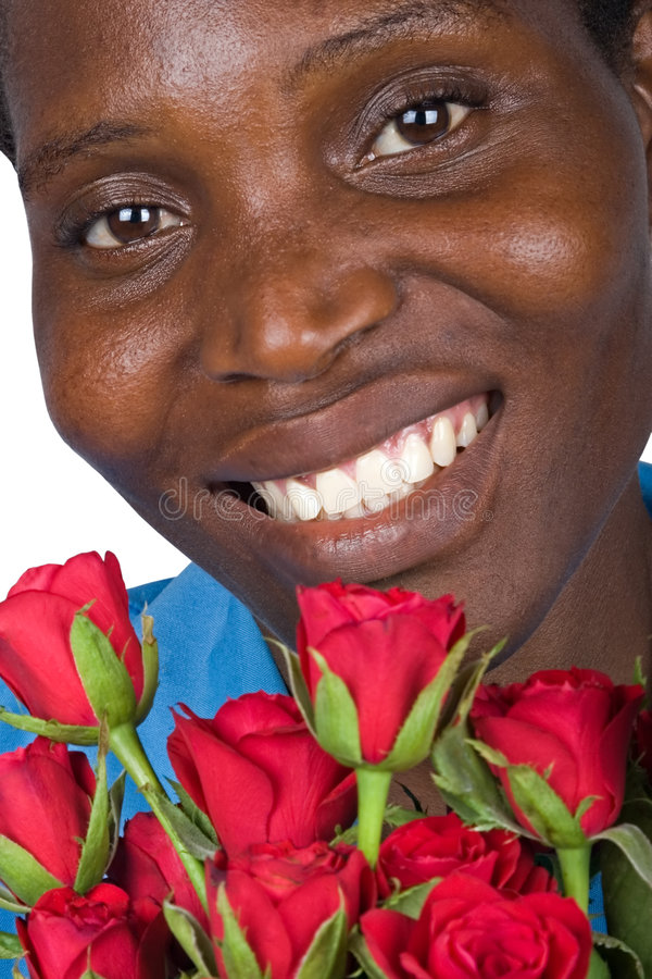 Black woman with red roses