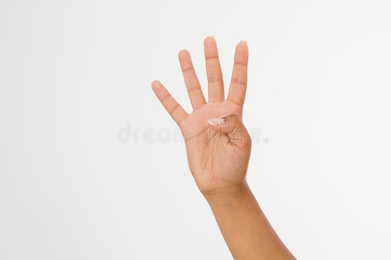 Black woman`s hand shows four fingers. Gesture. afro american hand. Mock up. Copy space. Template. Blank. royalty free stock photography