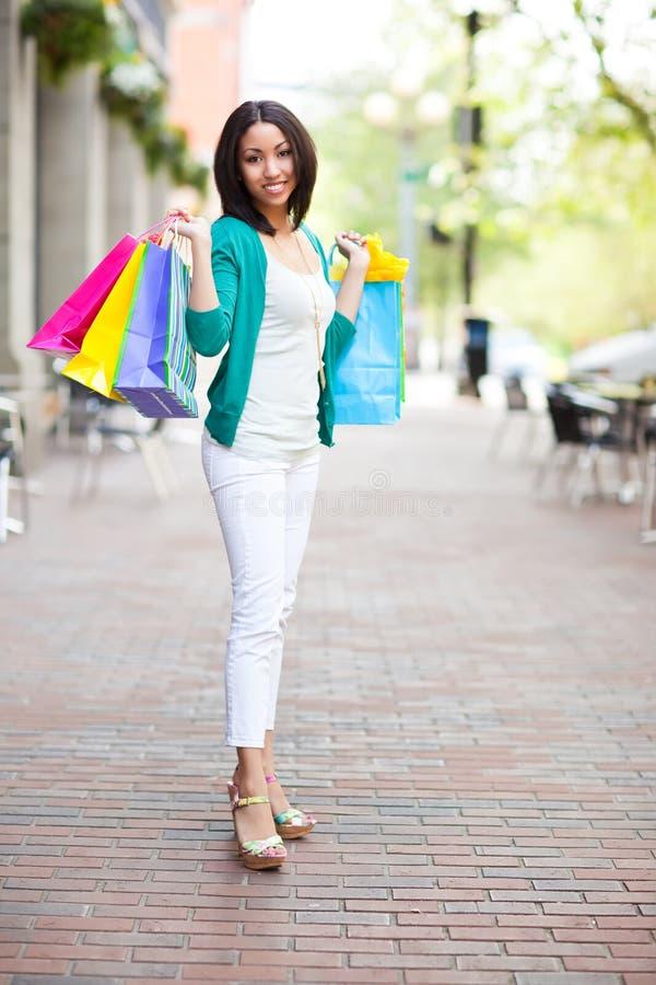 Black woman shopping royalty free stock image