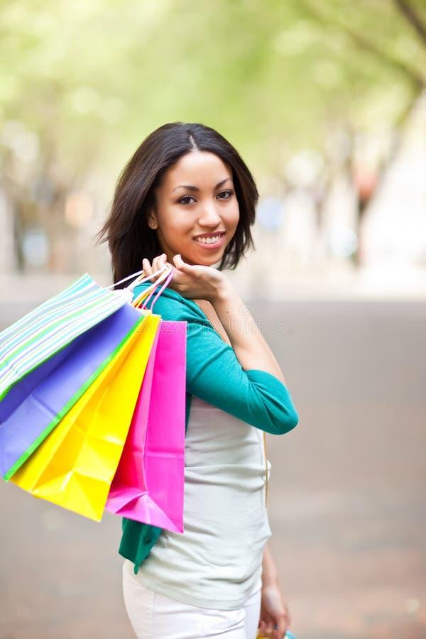 Black woman shopping royalty free stock photography