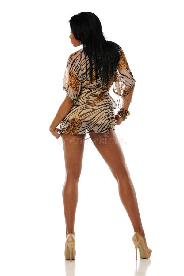 Black Woman Wearing A Short Dress Stock Image