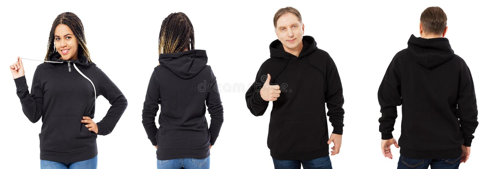 Black woman in hoodie mockup, man in empty hood front and back view isolated over white, hoodie set female and male royalty free stock photography