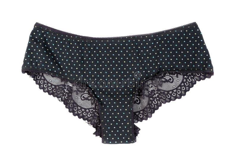 Black women`s panties. Isolate on white. Background stock photo