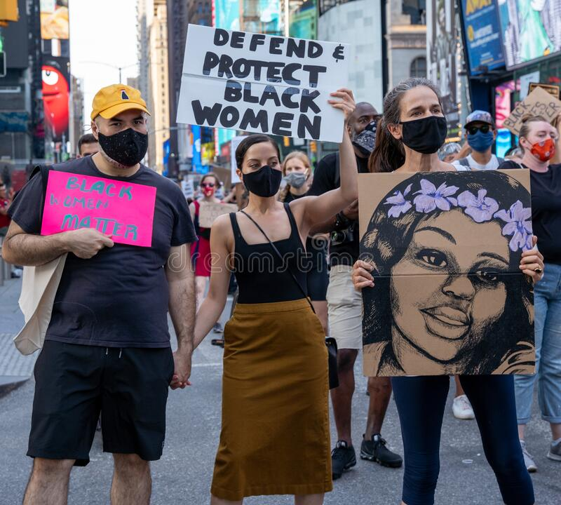 Free Black Womens/Womxn March Black Lives Matter Protest - New York City Defend And Protect Black Women, Breonna Taylor Drawn Protest Royalty Free Stock Photography - 191862397