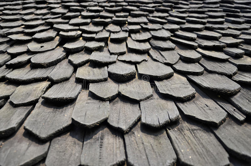 Black wood roof royalty free stock image