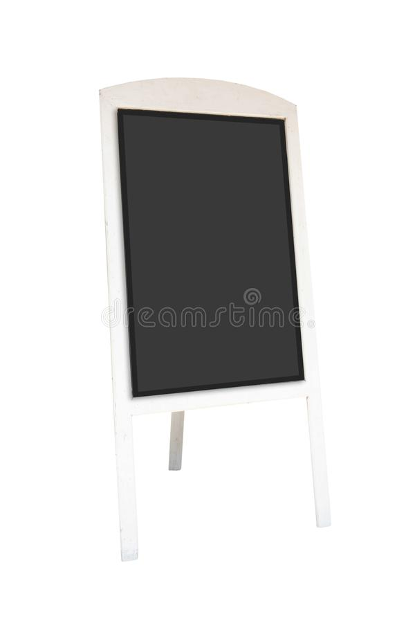 Black wooden board blank canvas mockup isolated on white background .Blank space for text and images . Blank space for text and images of file with Clipping stock image