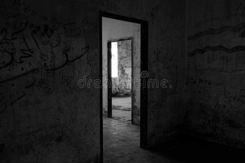 Black Wooden Door Frame stock images