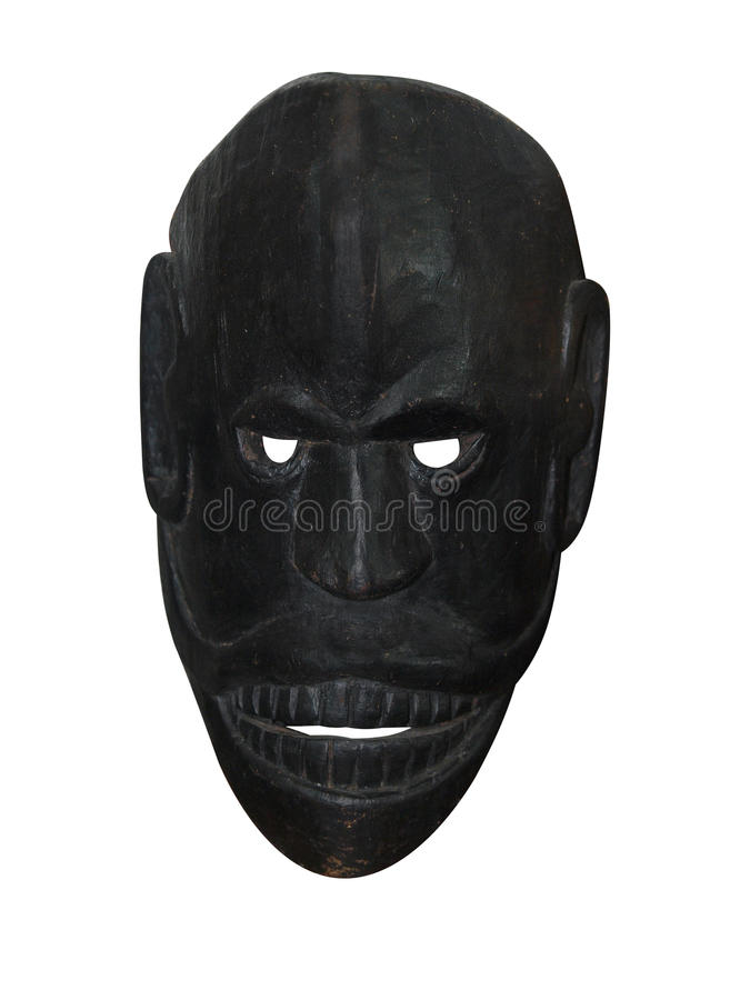 Black Wooden Mask. Isolated with clipping path stock image