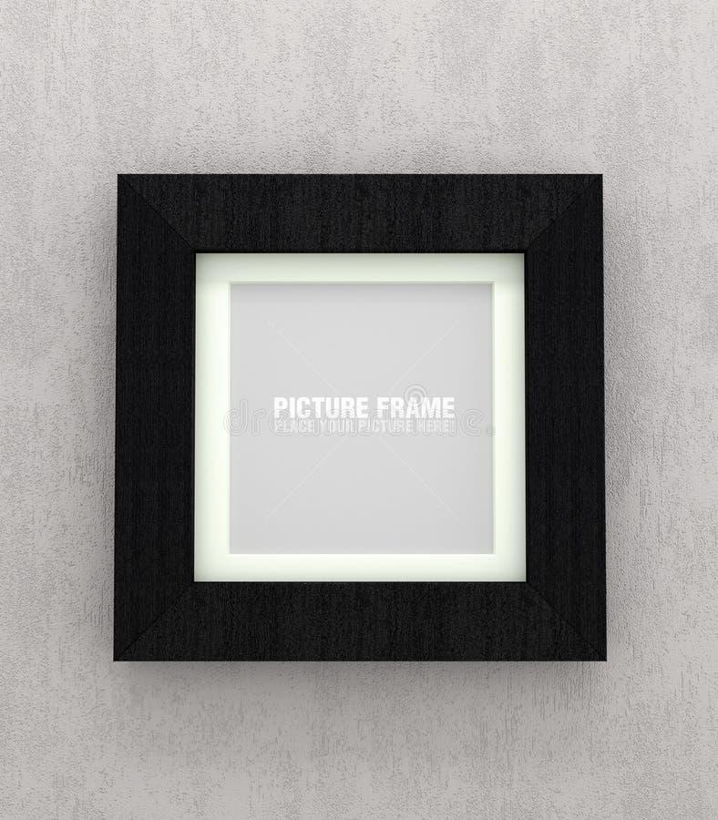 Black wooden picture frames. Square size of black wooden picture frame on grey concrete wall vector illustration