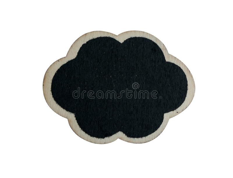 Black wooden tag on the white background. With clipping paths sign price label blackboard isolated stick blank chalk placard market supermarket design pattern stock photography