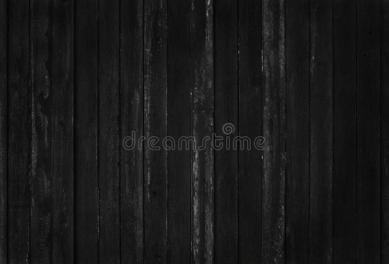Black wooden wall background, texture of dark bark wood with old natural pattern for design art work, top view of grain timber.  royalty free stock image